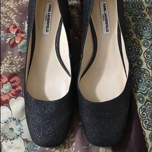 Karl lagerfeld glitter heels worn once